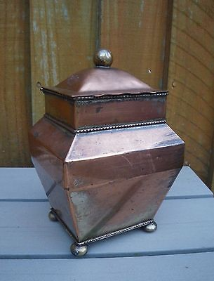 Antique Early 19Th C. Regency Copper/silver Plated Tea Caddy With Hinged Lid