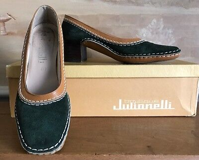 Vintage Boutique Julianelli Green Suede Tan Leather Pumps Shoes Italy Sz 6 S (N)