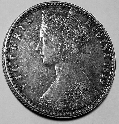 Great Britain 1849 Queen Victoria Full Silver Godless Florin EF