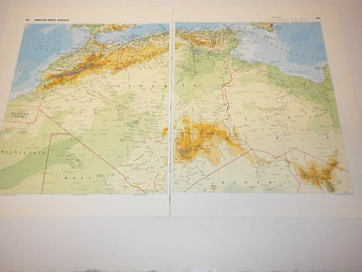 North West Africa Map Old Original Print 1986 Libya Niger Chad Mali Algeria
