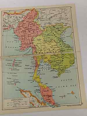 Indo China Map Old Vintage Original Print 1942 Railway Routes