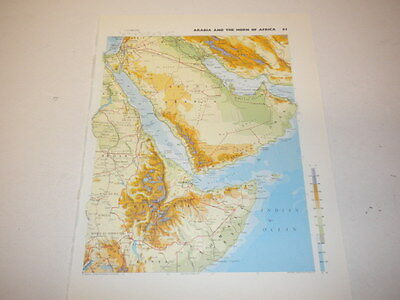 Arabia & The Horn of Africa Map Old Vintage Original Print 1986  Egypt Saudi