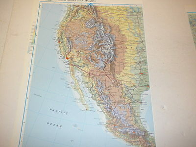 Large United States and Mexico Map Old Original Colour Print 1997 Toronto Cuba