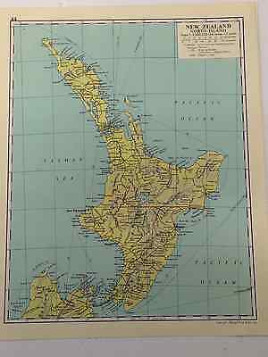 NEW ZEALAND Map Old Vintage Original Print 1963 Tasman Sea Hawkes Bay