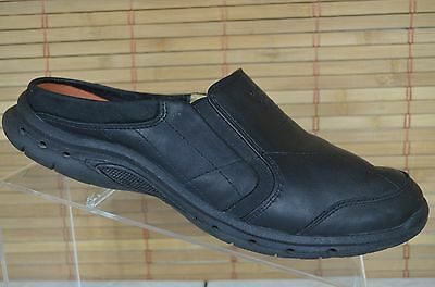 Clarks Unstructured Black Leather Slip On Mules Women's Size 9 M