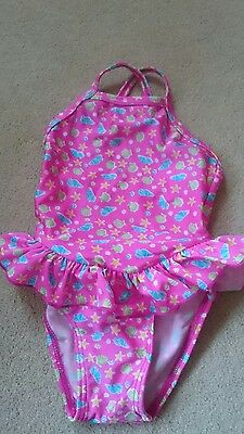Cute baby girls pink frill swimming costume swim suit 6-12 months