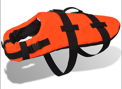Large Dog Rescue Vest with Handle Swimming Float Jacket Orange Life Preserver