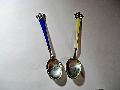 Two Magnus Aase Norway Sterling Silver Enameled Spoons Gently Used Condition