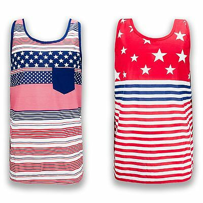 25f9a98e1ecf4 NEW Men Tank Top Sleeveless USA Flag American Patriot Bald Eagle US Size  S-2X