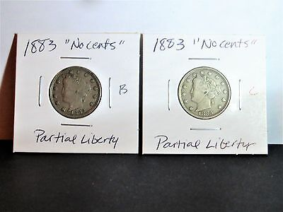 "TWO 1883 Liberty V Nickels - ""No Cents"" Reverse - Better Circulated Condition!"