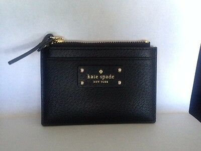 Kate Spade Wellesley Graham Credit Card Case Holder Black Leather NWT