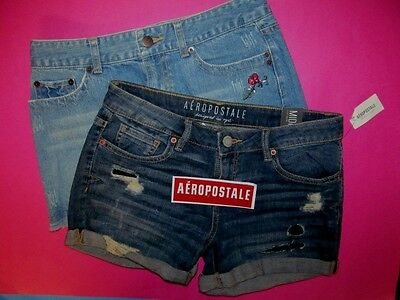 NEW Aeropostale LOT Shorts + Skirt Junior Size 1 / 2 XS Denim Jean AERO X-Small