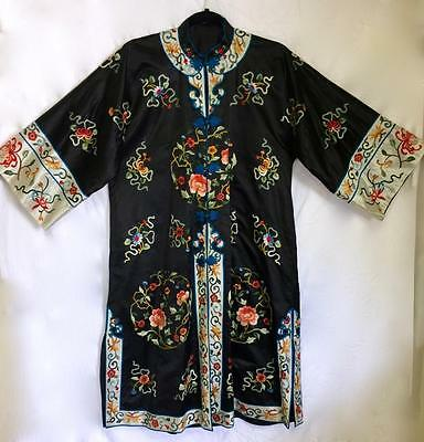 Vintage Chinese Robe Black Silk Embroidered Court Robe Roundels