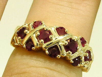 R168 GENUINE 9K Solid Yellow Gold NATURAL Ruby XOXO Kiss ETERNITY Ring size N