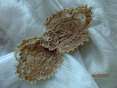 Tiny Dainty Sheer Antique Victorian Silk Cotton Tulle Lace Bow Appliqué Trim