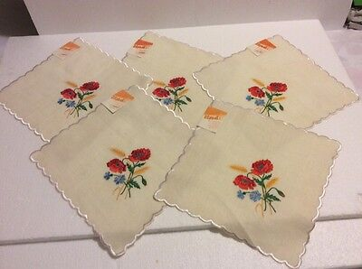 Vintage/NEW Lot of 5 SCALLOPED IVORY LINEN Doilies with Wild Flowers EMBROIDERY