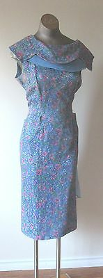 1960's Floral Lace Dress with Sheer and Rhinestone accent