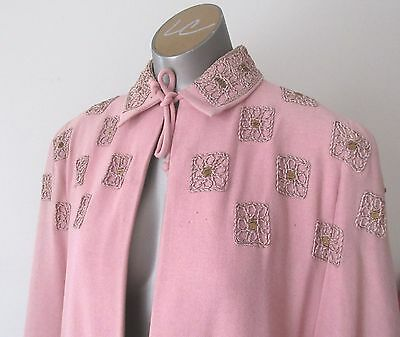 Vintage 1940`s Wool Embroidered Pink Cape