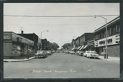 MN Excelsior RPPC 1956 STREET SCENE Drug Store EXCEL FOOD MARKET by Pearson 306