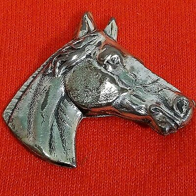 "Vintage Equestrian Horse Head Pin Brooch Sterling Silver 1.5"" X 1.5"" Michele"