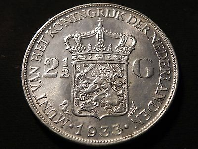 Netherlands 1933 Silver 2 1/2 Gulden Deep Hair Lines