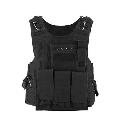 Tactical Military USMC Airsoft Hunting MOLLE Plate Carrier Assault Vest Black