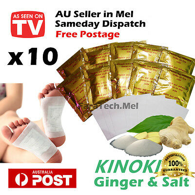 10 x Detox Kinoki Foot Patch Pad Ginger & Salt Extract Toxin Removal Weight Loss