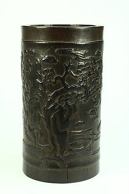 * Antique Chinese Carved Bamboo Wood Brush Pot Calligraphy Shufa 6+""