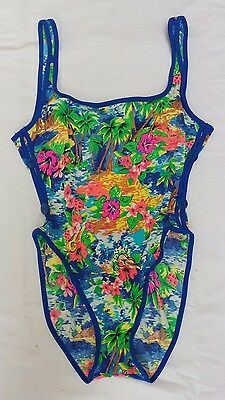 VTG Le Cove Sz 8 One Piece Blue Floral Island High Cut Buttons Skimpy Swimsuit