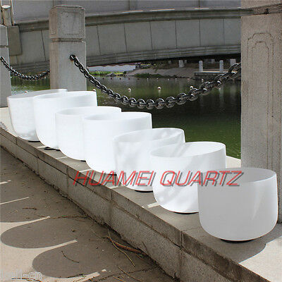 """HUAMEI 432Hz Chakra Tuned Set of 7pcs Frosted Crystal Singing Bowl 8""""-14"""""""