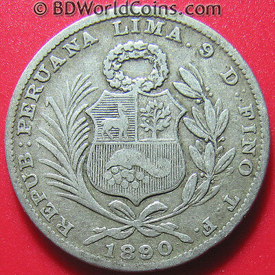 PERU 1890-TF 1/5 SOL SILVER LIMA LOW MINT SCARCE! SOUTH AMERICAN WORLD COIN 23mm