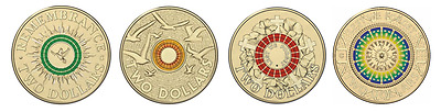 Set 4 Colour $2 Uncirc Lest We Forget Remembrance Anzac Day Coins 2014 2015 2017
