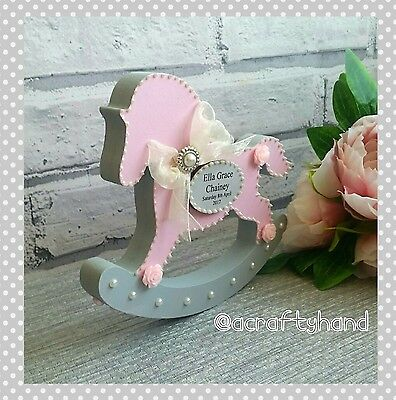 Personalised Newborn Baby Girl Rocking Horse Gift Present Christening  Keepsake