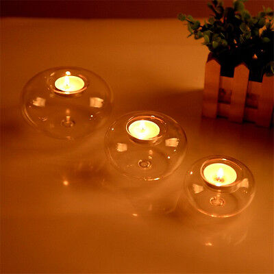 Round hollow glass candle holder wedding fine candlestick dining Party decor