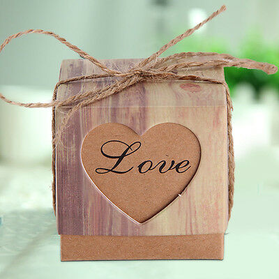 50PCS Wedding Party Heart Love Sweets Cake Candy Gift Favour Favor Boxes UK