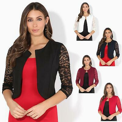 Womens Ladies 3/4 Lace Sleeve Cropped Evening Shrug Bolero Top Cardigan Jacket