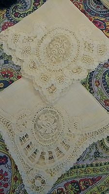 Beautiful lot Antique Hankies - LACE TRIM, embroidery.