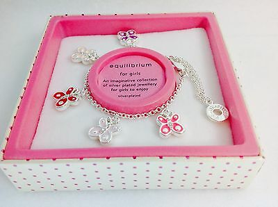 Equilibrium For Girls Children's Silver Plated Butterfly Charm Bracelet Gift