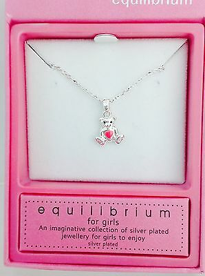 Equilibrium For Girls Children's Silver Plated Teddy Bear Pink Heart Necklace