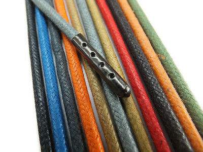 4mm Round Waxed Cotton METAL TIPPED Shoelaces - Many colours - 1 Pair Shoe Laces