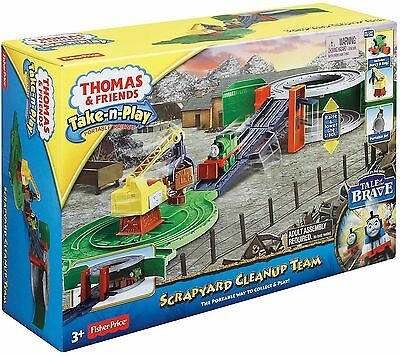 Thomas The Tank Engine Scrapyard Cleanup Take n Play & Friends Train Track NEW