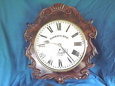 19c Carved Mahogany Fusee Clock Convex Dial & Glass.