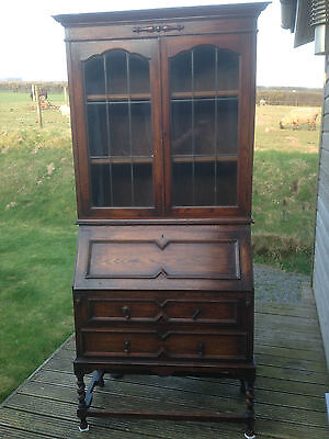 1920s Oak Bureau Desk And Bookcase / Glass Cabinet