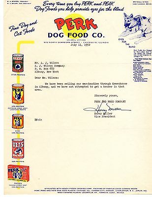 Perk Dog Food Co. Chicago 1952 ad letterhead COLOR NR