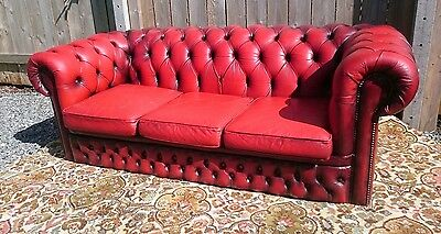 Oxblood Red Leather Chesterfield Tub 3 Seater Settee Sofa