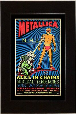VTG REPRINT JULY 26, METALLICA - ALICE IN CHAINS 13x19 ROCK POSTER AD FRAMED
