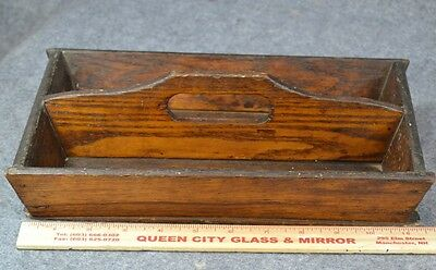 knife cutlery tray caddy box flatware handmade oak square nail antique original