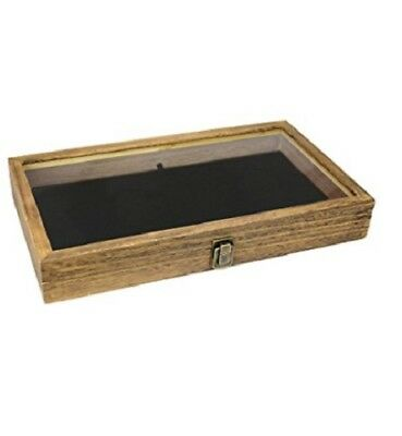 Display Box Case Jewelry Natural Wood Glass Top Lid Velvet Black Pad Gun Knife