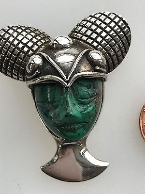Rare Los Ballesteros Iguala & Taxco Sterling Silver Carved face brooch/Pin