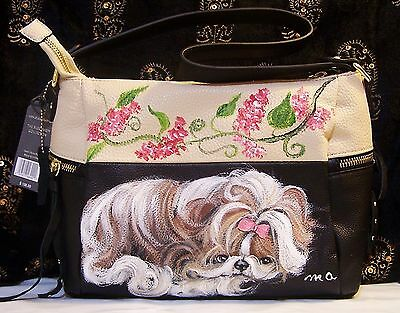 Shih Tzu  original hand painted genuine leather handbag art